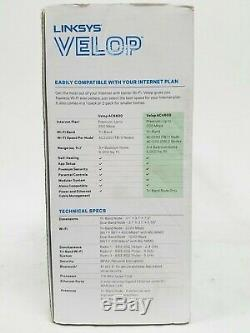 Linksys Velop Intelligent Mesh WiFi System Tri-Band 3-Pack White AC4600 Open Box